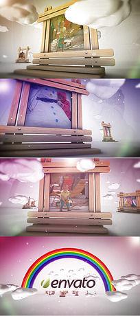童年梦卡通木框图文展示ae模板