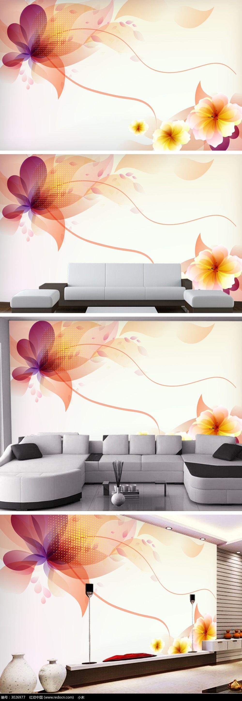 橙色飞舞的花朵电视背景墙图片