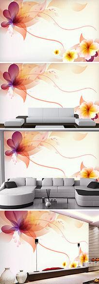 橙色飞舞的花朵电视背景墙
