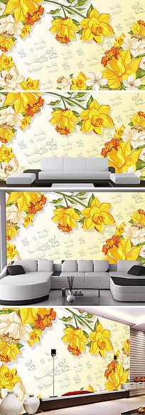 抽象橙色花朵3D电视背景墙