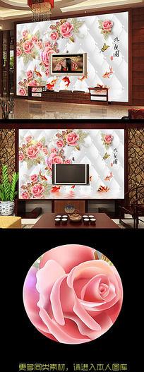 富贵锦鱼电视背景墙