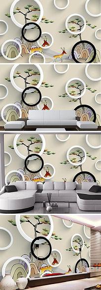 卡通麋鹿迎客松3D电视背景墙