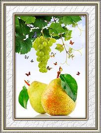 餐厅新鲜梨子装饰画