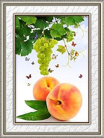 餐厅新鲜桃子装饰画