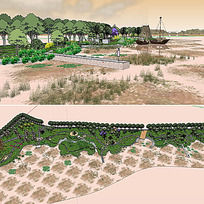 草图大师sketchup湿地景观模型