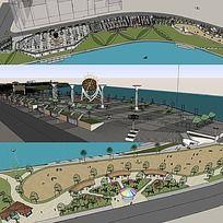 草图大师sketchup滨水公园景观模型