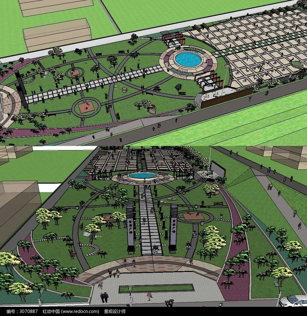 休闲广场景观模型