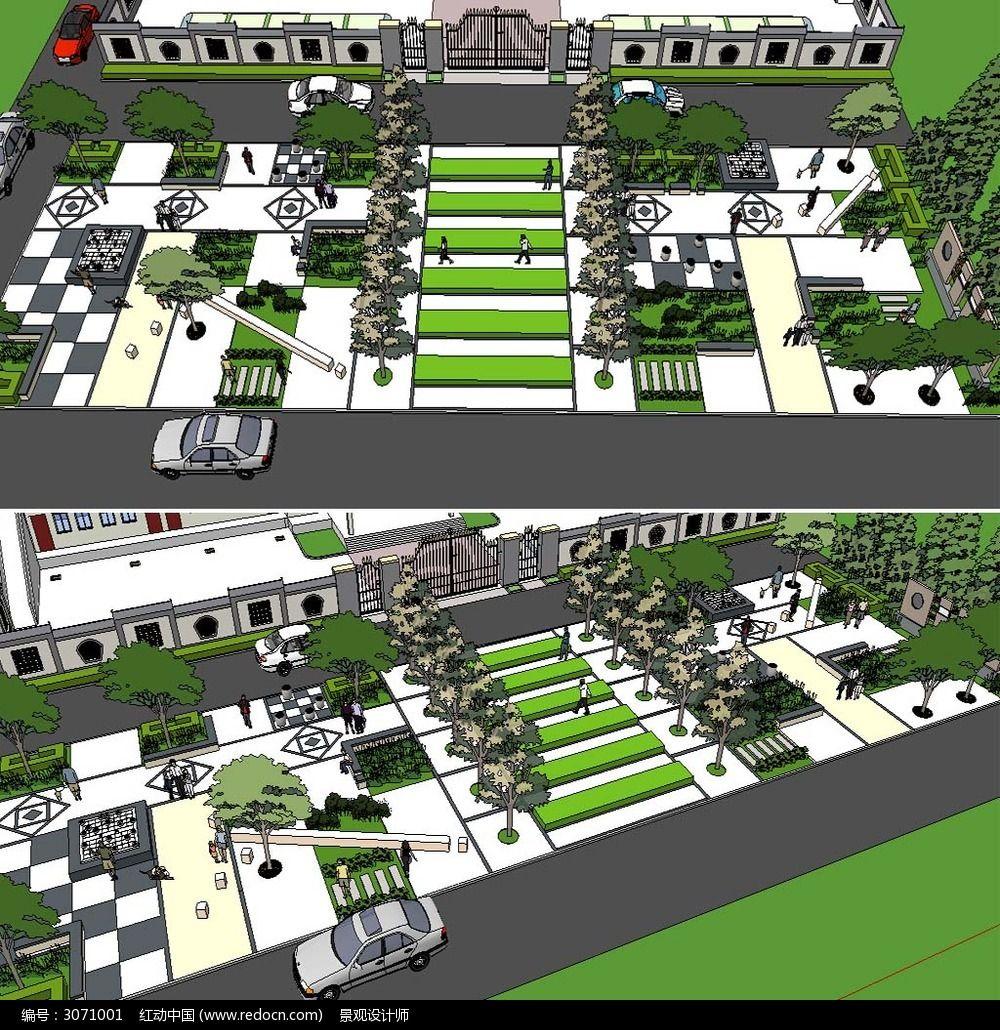 草图大师sketchup街头公园景观模型设计模板下载