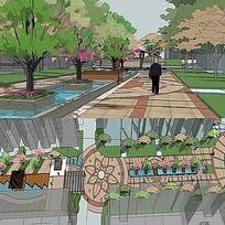 草图大师sketchup居住区中心广场景观模型