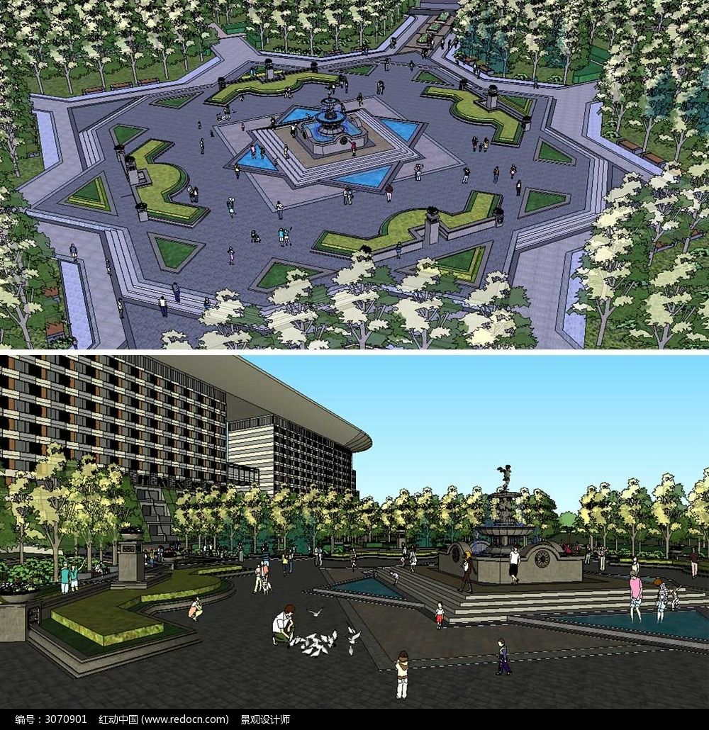 草图大师sketchup欧式喷泉广场景观模型