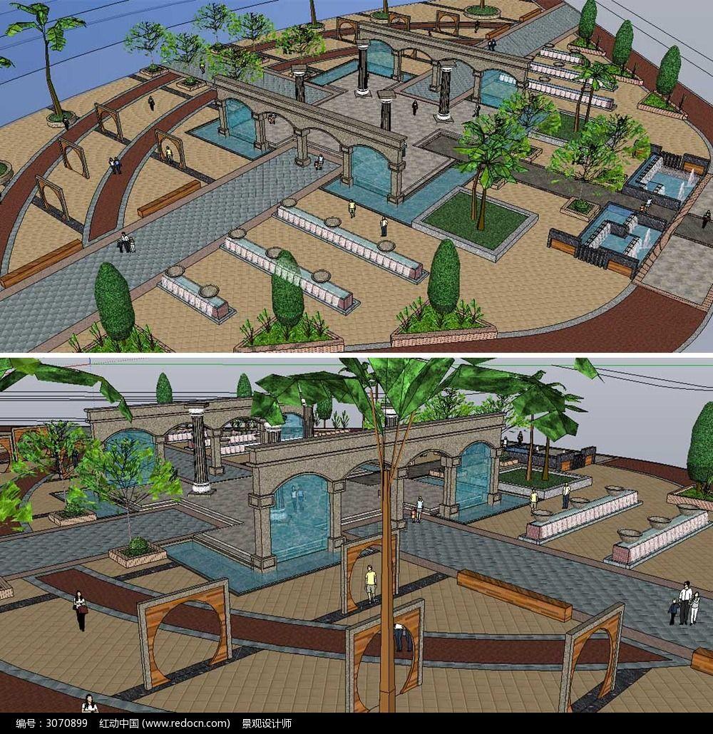 草图大师sketchup欧式休闲广场景观模型