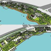 草图大师sketchup湿地滨水公园景观模型