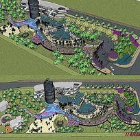 草图大师sketchup小公园景观模型