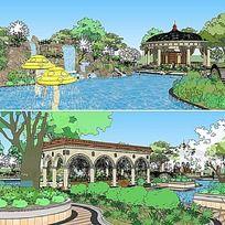 草图大师sketchup泳池公园景观模型
