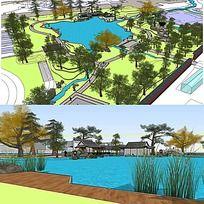 草图大师sketchup中式公园景观模型