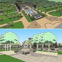 草图大师sketchup主题公园景观模型