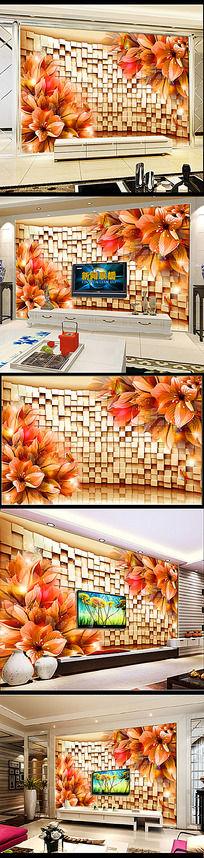 3D璀璨星光梦幻花朵电视背景墙
