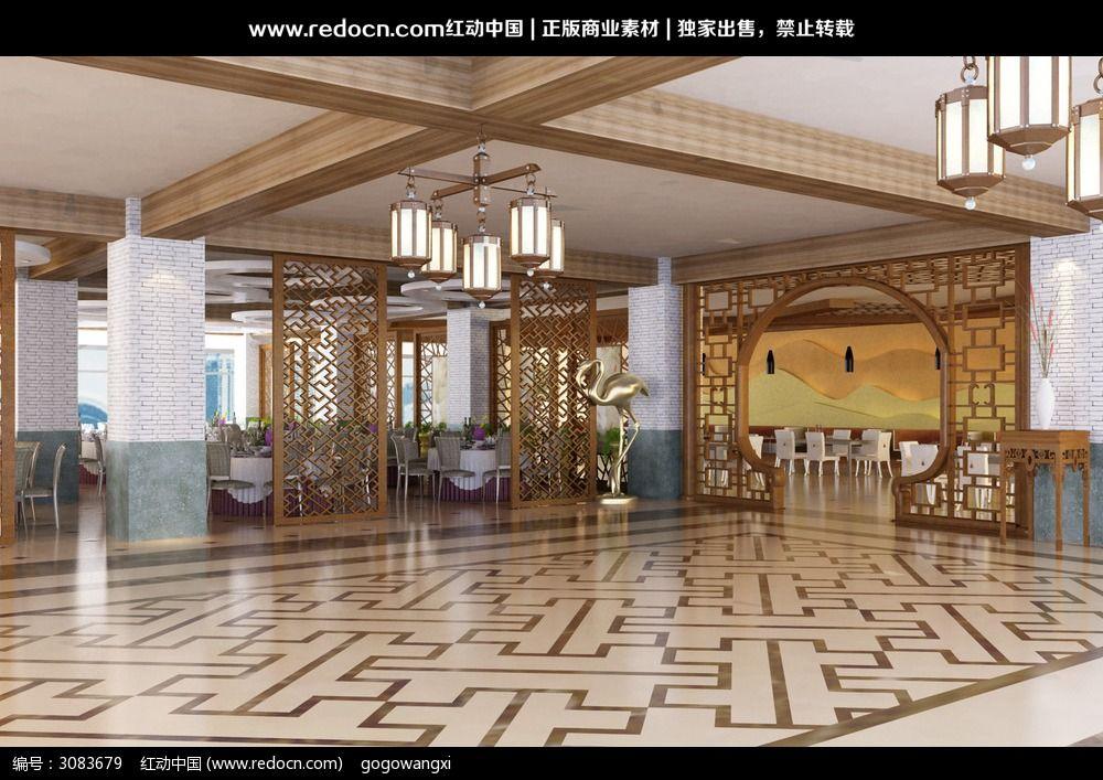 餐厅大厅设计3d效果图