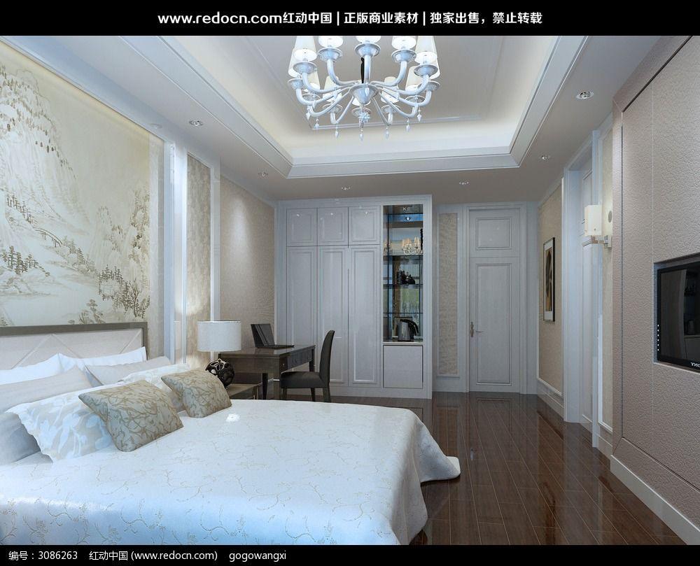酒店套房卧室设计3d效果图