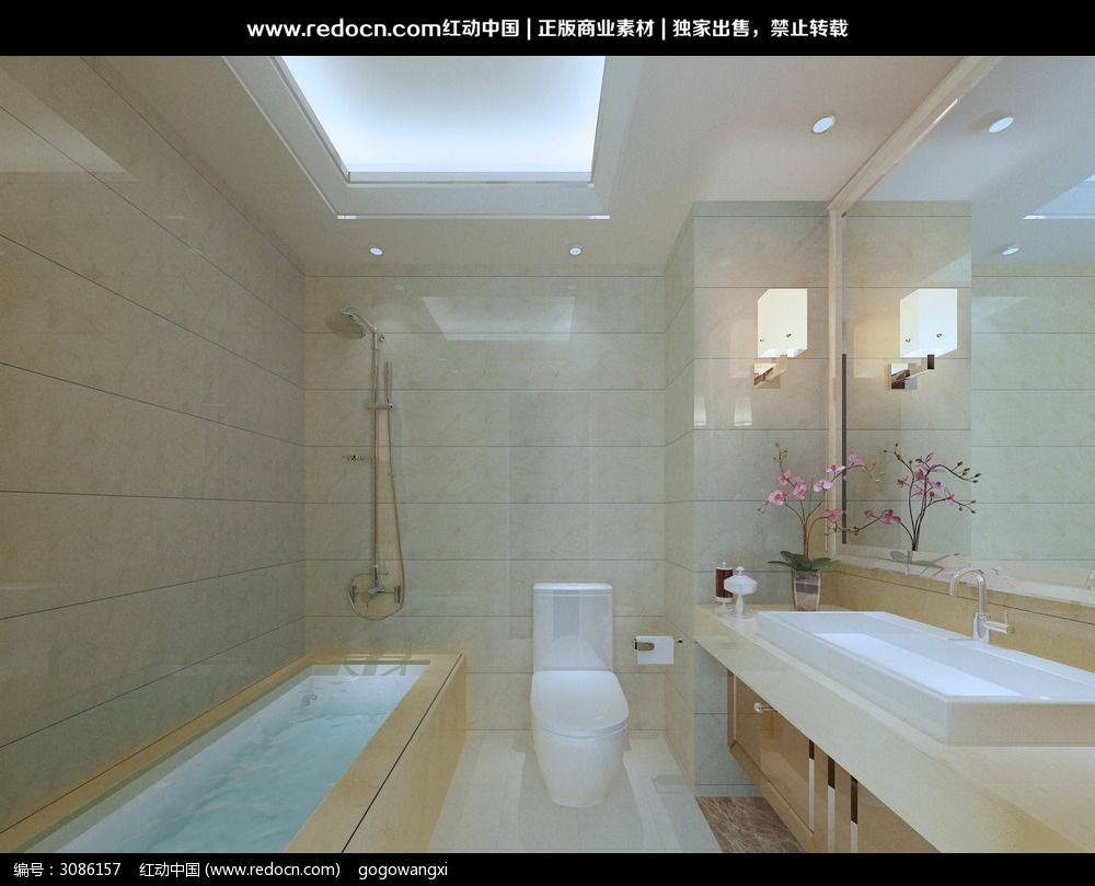 酒店卫生间设计3d效果图图片高清图片