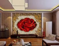 古典欧式风格大理石玫瑰背景电视墙