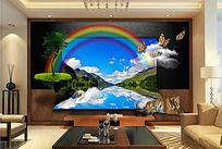 现代风格湖光山色3D立体背景墙