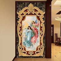 欧式复古木雕天使油画玄关画