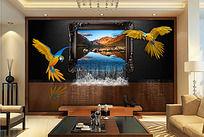现代风格3D立体风景瀑布电视背景墙