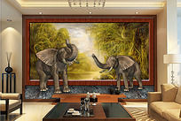 现代风格3D立体雨林大象背景墙
