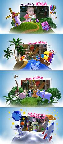 充满童趣的三维卡通小星球乐园图文展示照片ae模板