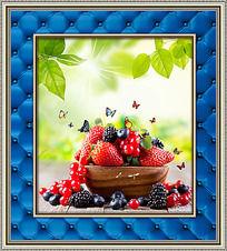 新鲜草莓餐厅装饰画