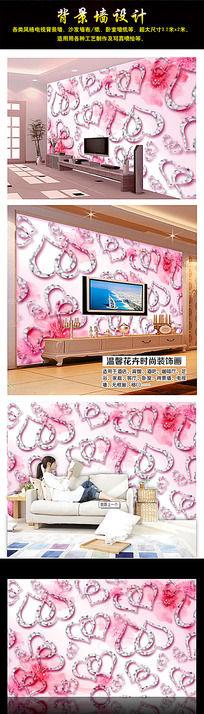 3D浪漫心形背景墙