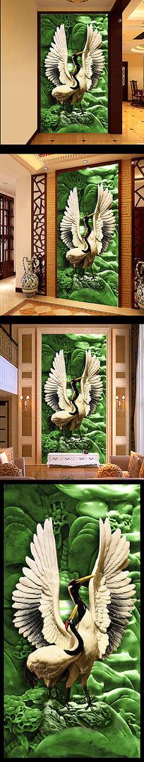 高清玉雕浮雕双鹤山水风景壁画玄关图
