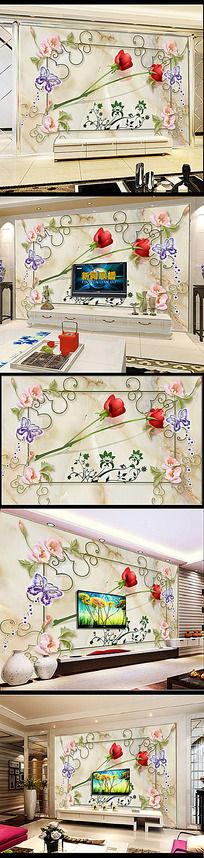 欧式浪漫玫瑰大理石底纹背景墙