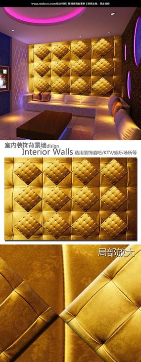 金色软包软皮酒吧KTV装饰背景墙