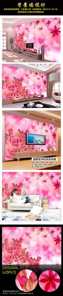 唯美桃花3D电视背景墙