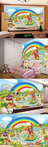 游乐场儿童房背景墙