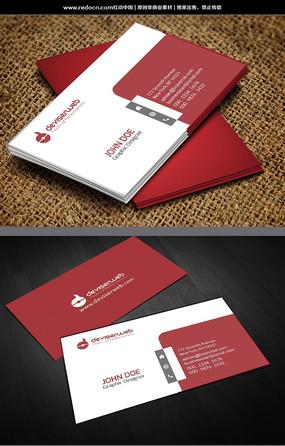 红色简约名片设计