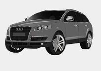 手绘汽车奥迪3D模型