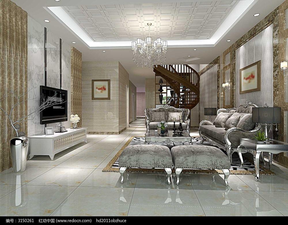 简欧风格客厅3d模型效果图图片
