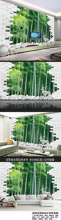 意境3D竹林神鹿电视背景墙