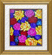 8款 油画花卉装饰画素材PSD下载