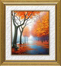 秋天的大街风景油画装饰画
