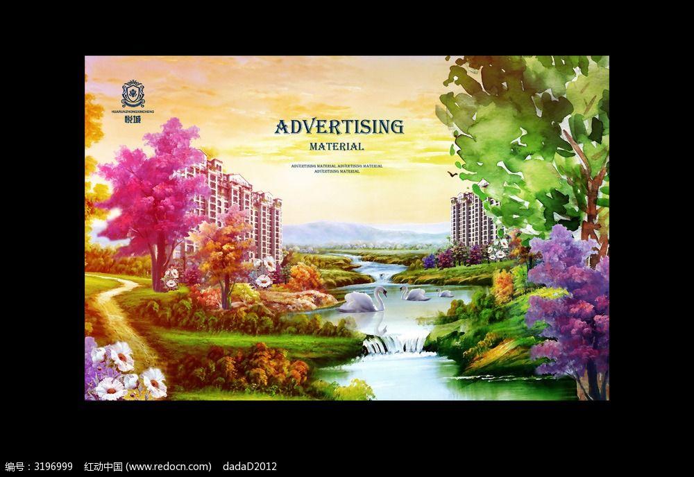 手绘高层唯美园林海报