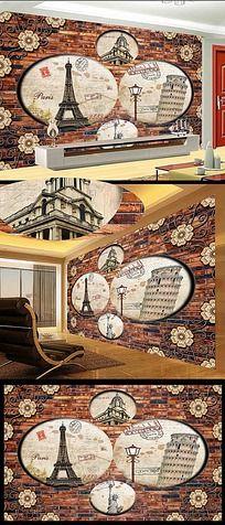 3d立体欧式建筑风景电视背景墙