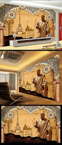 14款 复古欧式电视背景墙