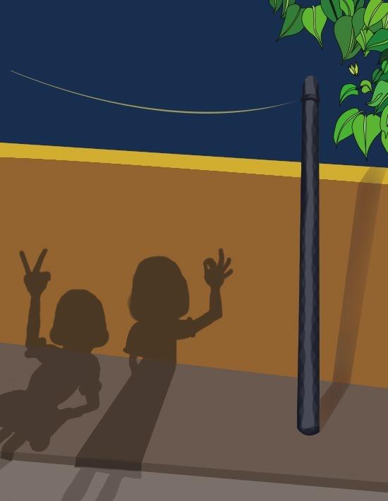 路旁灯光下两个人的影子人物插画