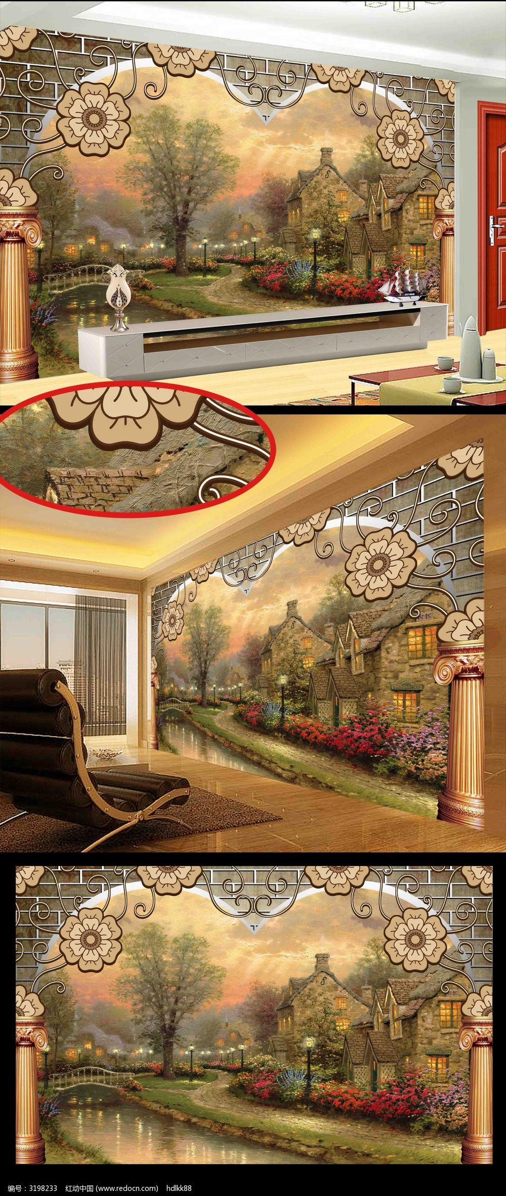 欧式唯美风景温馨电视背景墙