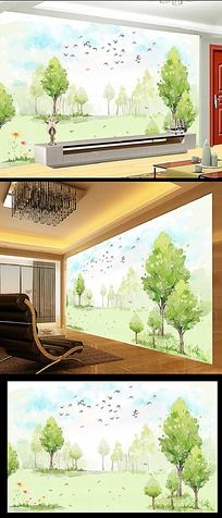 手绘绿色清新大树树林电视背景墙