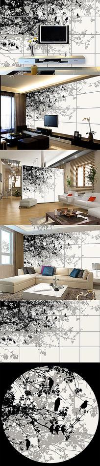 现代抽象树简约电视背景墙
